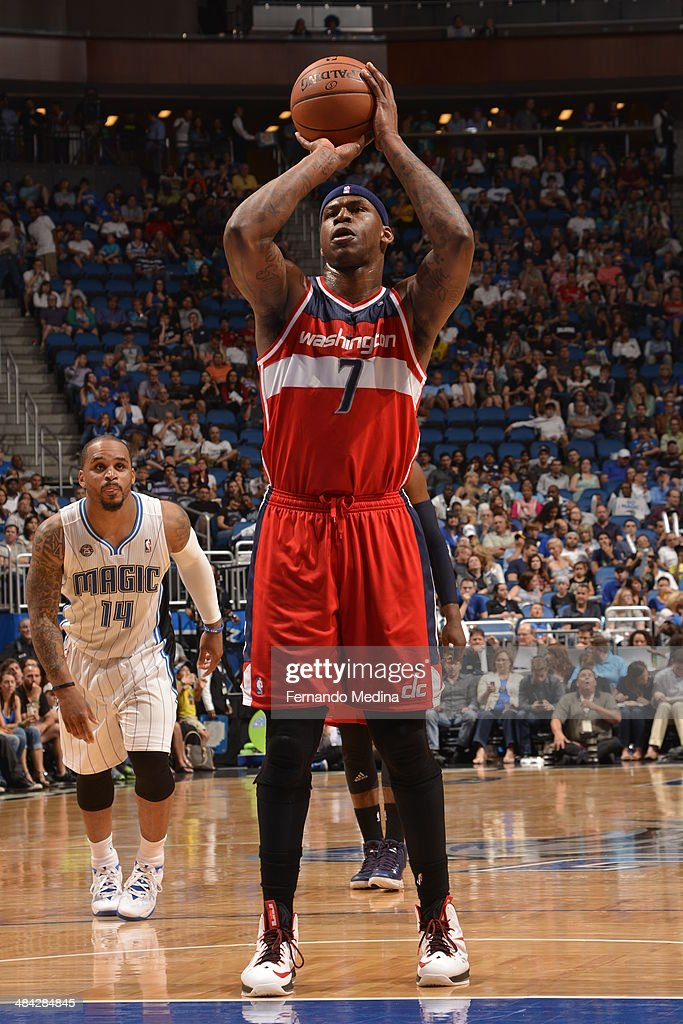 <a gi-track='captionPersonalityLinkClicked' href=/galleries/search?phrase=Al+Harrington&family=editorial&specificpeople=201645 ng-click='$event.stopPropagation()'>Al Harrington</a> #7 of the Washington Wizards shoots the ball against the Orlando Magic during the game on April 11, 2014 at Amway Center in Orlando, Florida.