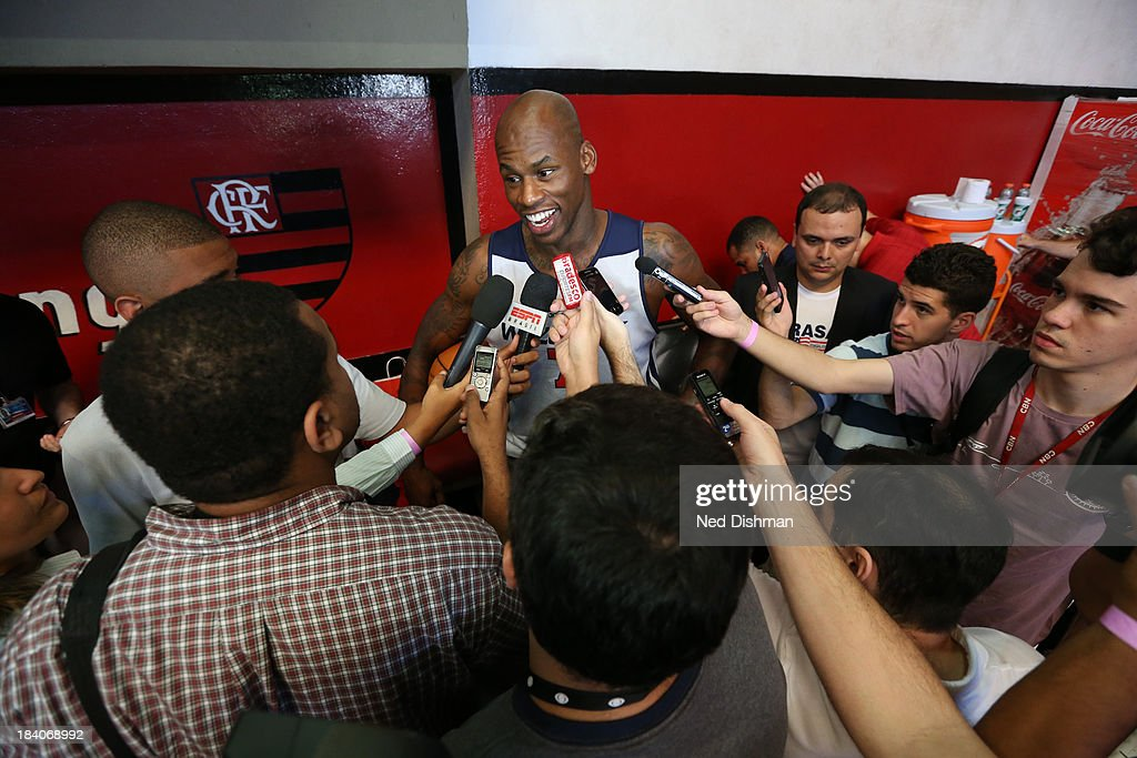 Al Harrington #7 of the Washington Wizards talks to the media during practice as part of 2013 Global Games on October 11, 2013 at Flamengo Club in Rio de Janiero, Brazil.