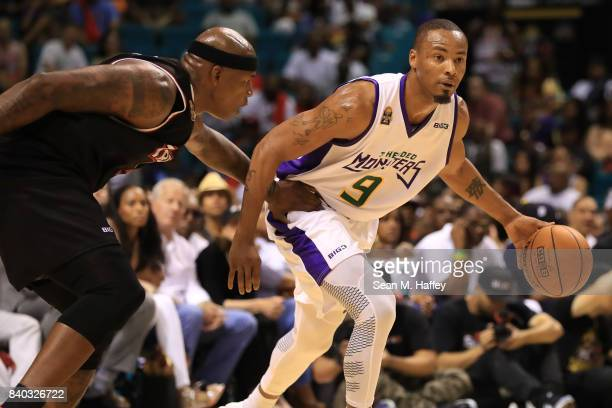 Al Harrington of Trilogy and Rashard Lewis of 3 Headed Monsters during the BIG3 three on three basketball league championship game on August 26 2017...