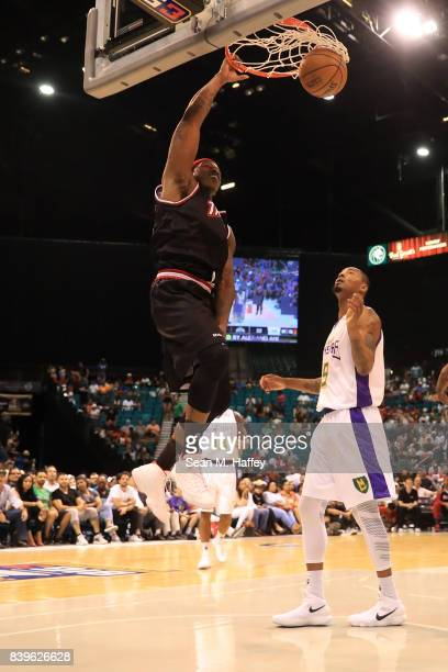 Al Harrington of Trilogy dunks the ball against the 3 Headed Monsters during the BIG3 three on three basketball league championship game on August 26...