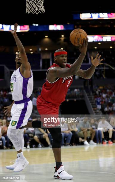 Al Harrington of Trilogy shoots against Rashard Lewis of the 3 Headed Monsters defends during week two of the BIG3 three on three basketball league...