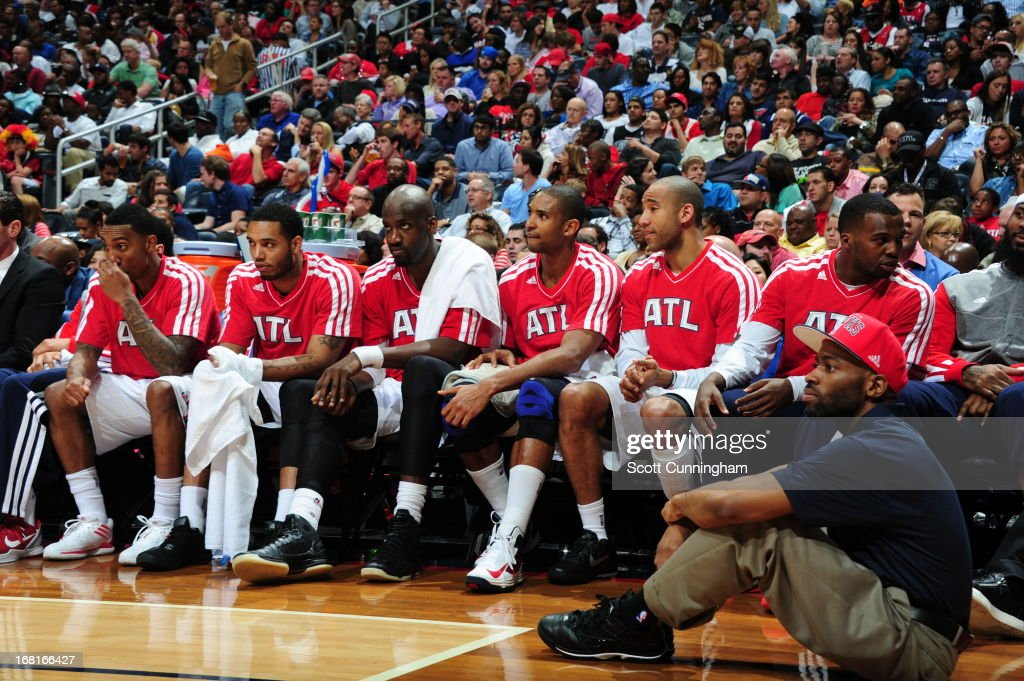 Al Horford #15 and the Atlanta Hawks sit on the bench during the game against the Indiana Pacers during Game Six of the Eastern Conference Quarterfinals in the 2013 NBA Playoffs on May 3, 2013 at Philips Arena in Atlanta, Georgia.
