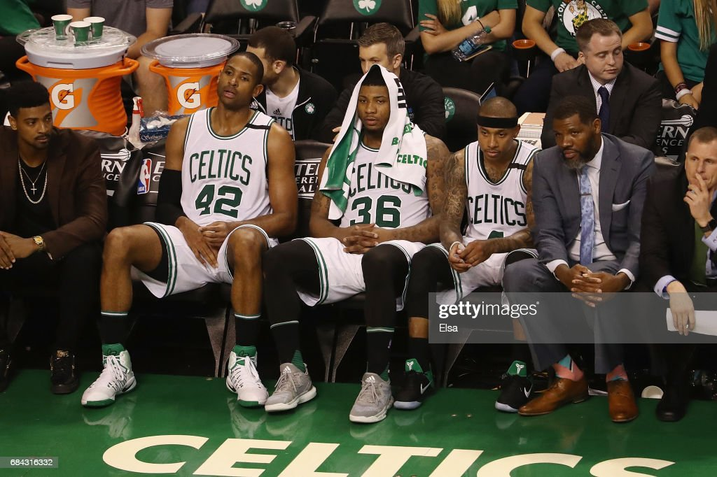 Al Horford #42, Marcus Smart #36 and Isaiah Thomas #4 of the Boston Celtics react on the bench during the fourth quarter against the Cleveland Cavaliers in Game One of the 2017 NBA Eastern Conference Finals at TD Garden on May 17, 2017 in Boston, Massachusetts.
