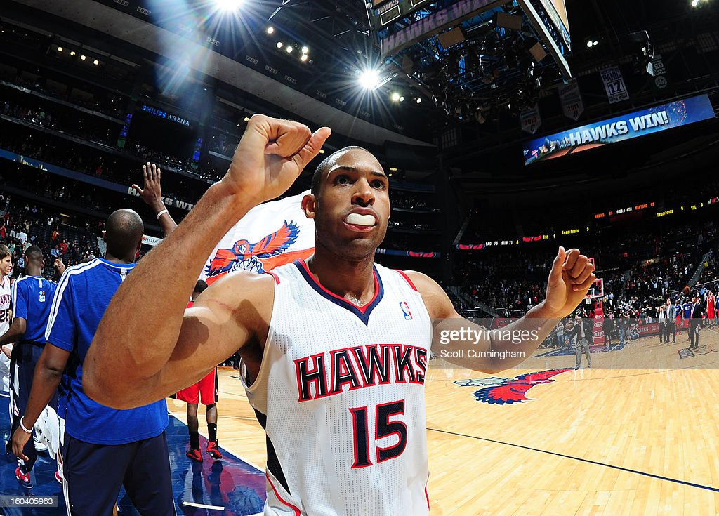 Al Horford #15 of the Atlanta Hawks celebrates a win after the game against the Toronto Raptors on January 30, 2013 at Philips Arena in Atlanta, Georgia.