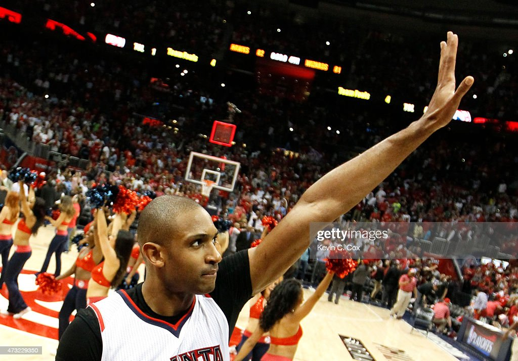 Al Horford of the Atlanta Hawks celebrates the win against the Washington Wizards after Game Five of the Eastern Conference Semifinals of the 2015...