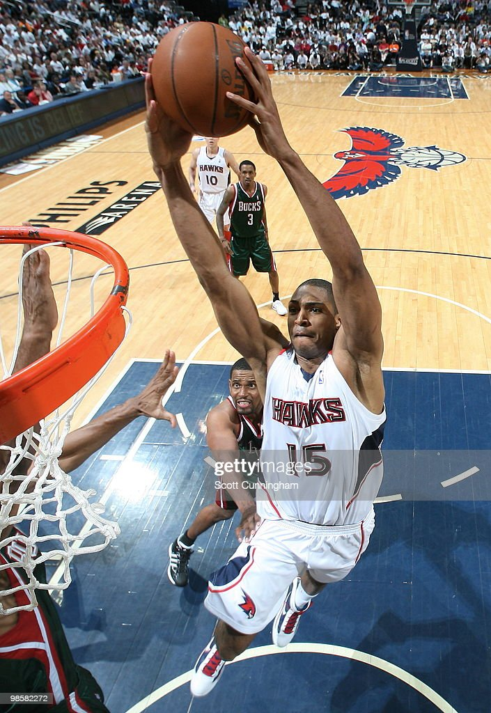 Al Horford #15 of the Atlanta Hawks dunks against the Milwaukee Bucks in Game Two of the Eastern Conference Quarterfinals during the 2010 NBA Playoffs on April 20, 2010 at Philips Arena in Atlanta, Georgia.