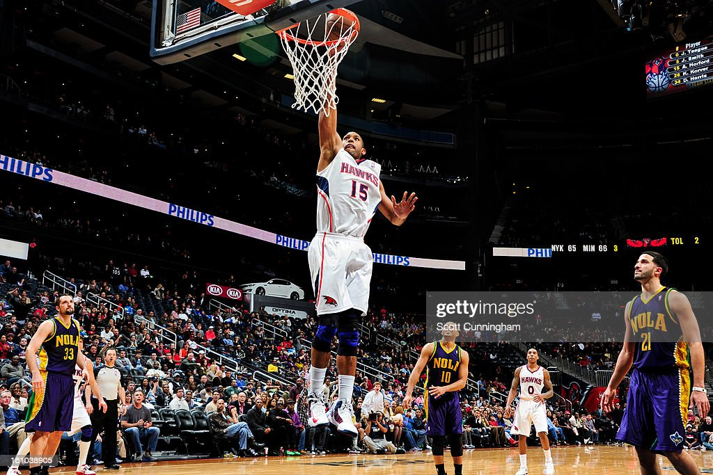 <a gi-track='captionPersonalityLinkClicked' href=/galleries/search?phrase=Al+Horford&family=editorial&specificpeople=699030 ng-click='$event.stopPropagation()'>Al Horford</a> #15 of the Atlanta Hawks dunks against the New Orleans Hornets on February 8, 2013 at Philips Arena in Atlanta, Georgia.