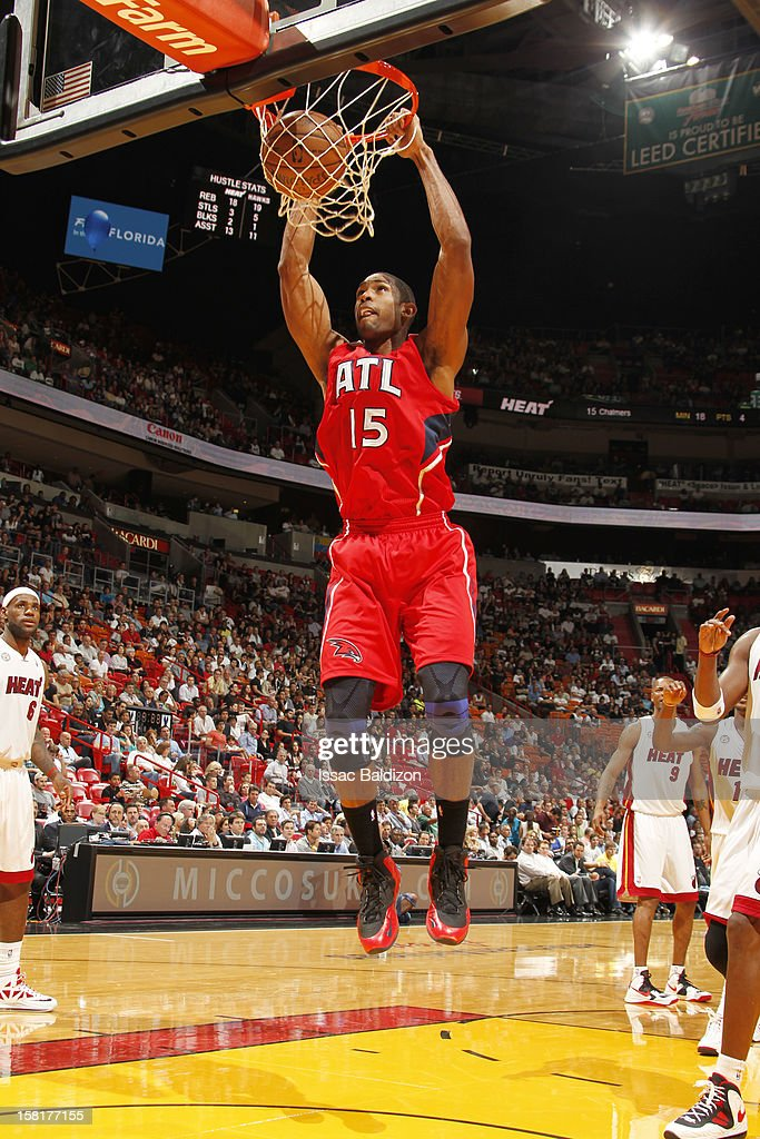 Al Horford #15 of the Atlanta Hawks dunks the ball during a game between the Atlanta Hawks and the Miami Heat on December 10, 2012 at American Airlines Arena in Miami, Florida.
