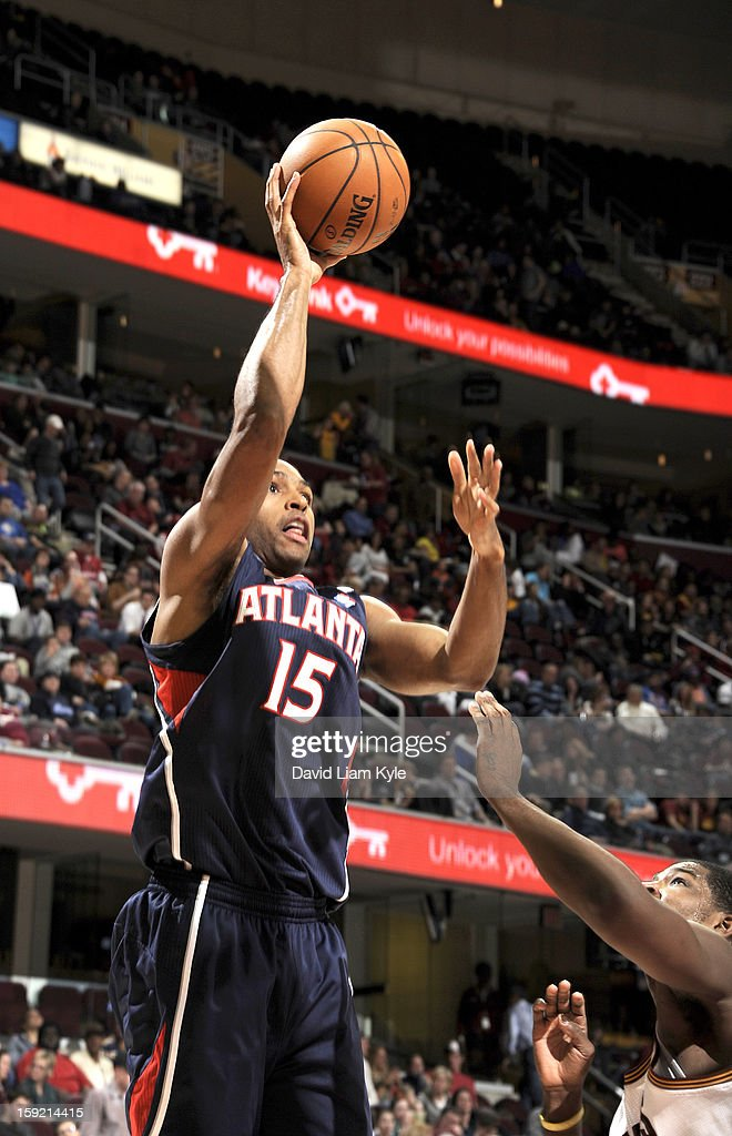 Al Horford #15 of the Atlanta Hawks goes for a jump shot against Tristan Thompson #13 of the Cleveland Cavaliers at The Quicken Loans Arena on January 9, 2013 in Cleveland, Ohio.