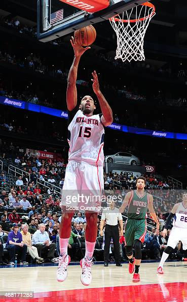 Al Horford of the Atlanta Hawks goes for the layup against the Milwaukee Bucks during the game on March 30 2015 at Philips Arena in Atlanta Georgia...
