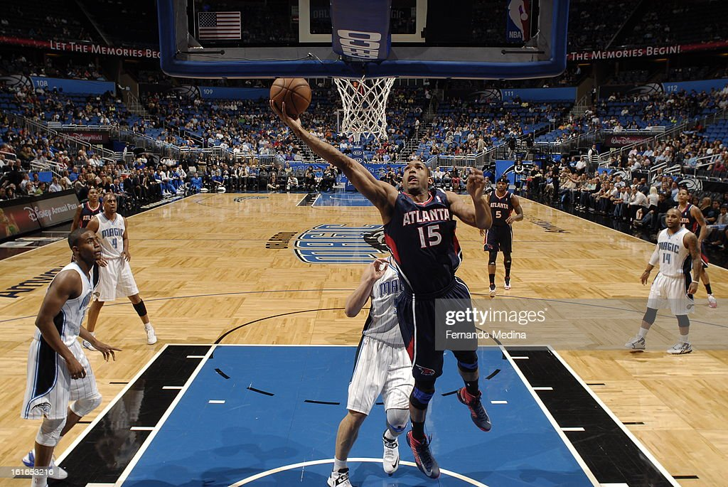 Al Horford #15 of the Atlanta Hawks goes up for the easy bucket against the Orlando Magic during the game on February 13, 2013 at Amway Center in Orlando, Florida.