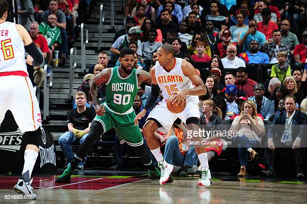 Al Horford of the Atlanta Hawks handles the ball against Amir Johnson of the Boston Celtics in Game Five of the Eastern Conference Quarterfinals...