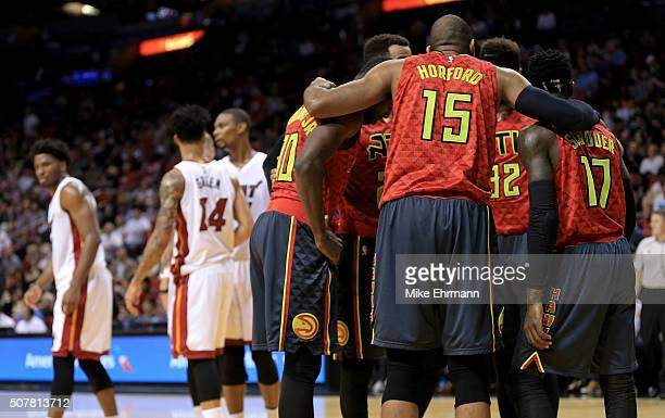 Al Horford of the Atlanta Hawks huddles the team together during a game against the Miami Heat at American Airlines Arena on January 31 2016 in Miami...
