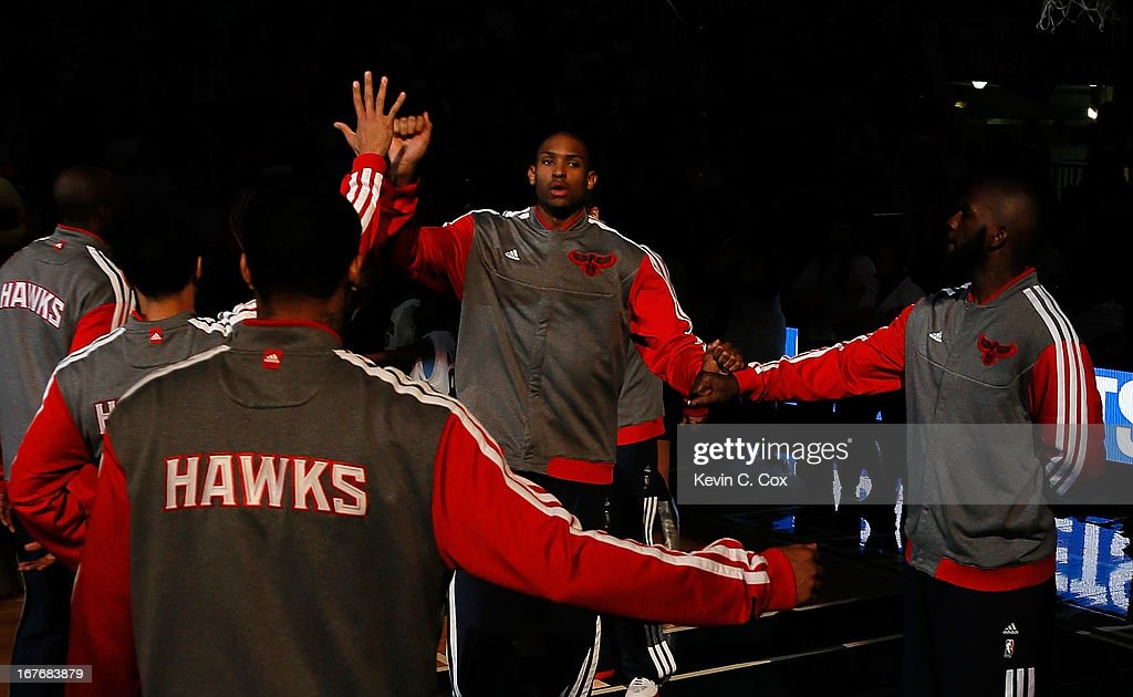 Al Horford #15 of the Atlanta Hawks is introduced during pregame prior to facing the Indiana Pacers in Game Three of the Eastern Conference Quarterfinals of the 2013 NBA Playoffs at Philips Arena on April 27, 2013 in Atlanta, Georgia.
