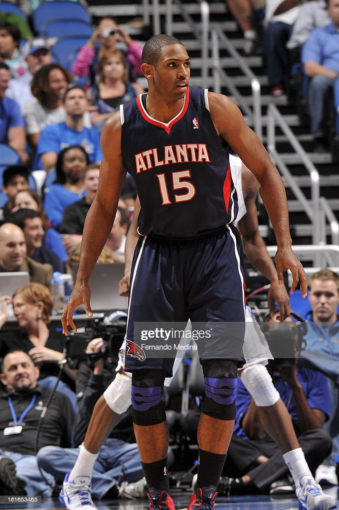 Al Horford #15 of the Atlanta Hawks looks on against the Orlando Magic during the game on February 13, 2013 at Amway Center in Orlando, Florida.