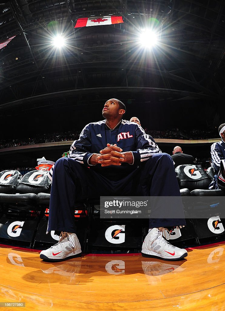 <a gi-track='captionPersonalityLinkClicked' href=/galleries/search?phrase=Al+Horford&family=editorial&specificpeople=699030 ng-click='$event.stopPropagation()'>Al Horford</a> #15 of the Atlanta Hawks looks on during the game between the Atlanta Hawks and the Orlando Magic at Philips Arena on November 19, 2012 in Atlanta, Georgia.