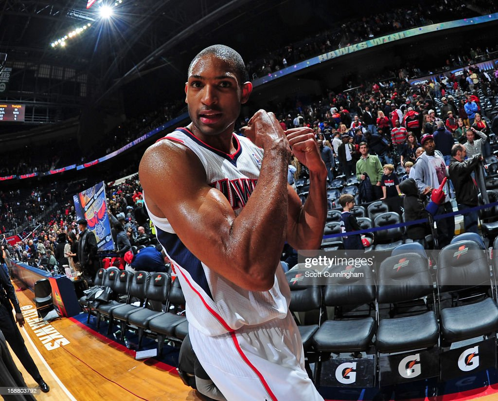 <a gi-track='captionPersonalityLinkClicked' href=/galleries/search?phrase=Al+Horford&family=editorial&specificpeople=699030 ng-click='$event.stopPropagation()'>Al Horford</a> #15 of the Atlanta Hawks poses for a photograph after the game against the Indiana Pacers on December 29, 2012 at Philips Arena in Atlanta, Georgia.