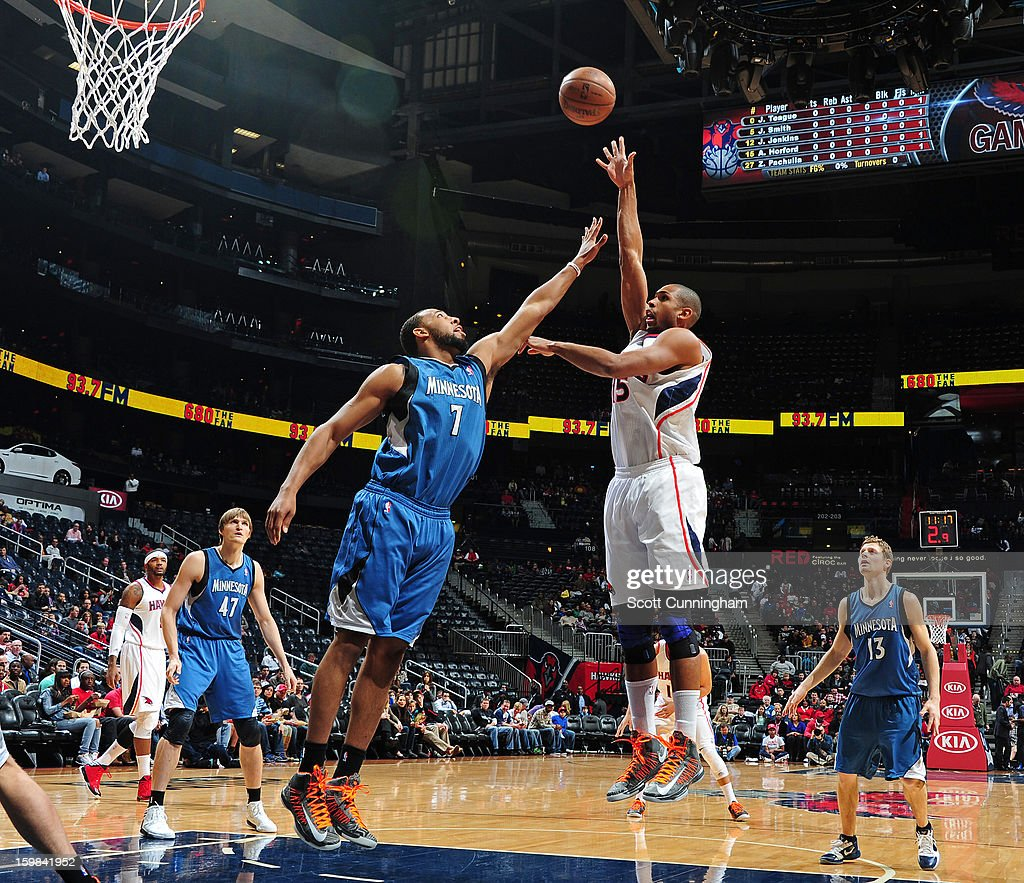 Al Horford #15 of the Atlanta Hawks puts up a shot against the Minnesota Timberwolves on January 21, 2013 at Philips Arena in Atlanta, Georgia.