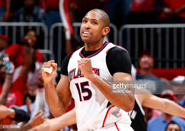 Al Horford of the Atlanta Hawks reacts after a defensive stop in the final seconds of their 9691 win over the Brooklyn Nets during Game Two of the...