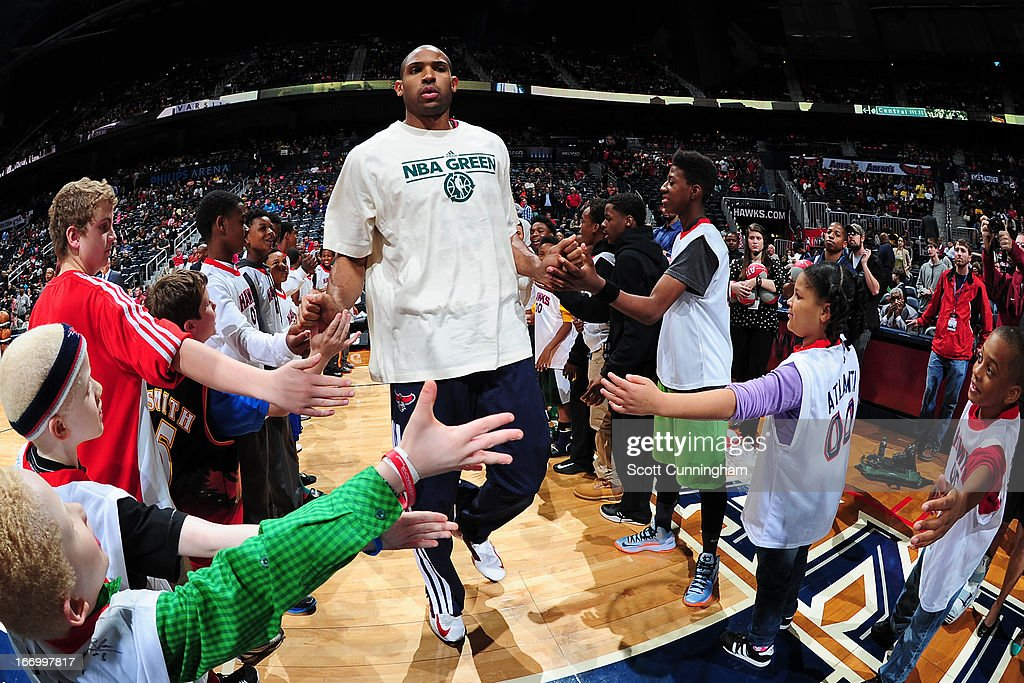 <a gi-track='captionPersonalityLinkClicked' href=/galleries/search?phrase=Al+Horford&family=editorial&specificpeople=699030 ng-click='$event.stopPropagation()'>Al Horford</a> #15 of the Atlanta Hawks runs out before the game against the Philadelphia 76ers on April 5, 2013 at Philips Arena in Atlanta, Georgia.