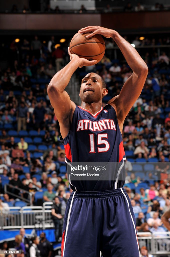 Al Horford #15 of the Atlanta Hawks shoots a foul shot against the Orlando Magic during the game on February 13, 2013 at Amway Center in Orlando, Florida.