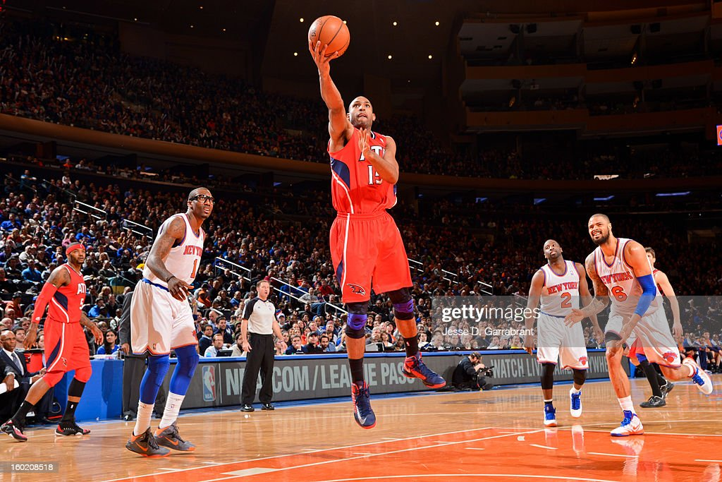 Al Horford #15 of the Atlanta Hawks shoots a layup against the New York Knicks at Madison Square Garden on January 27, 2013 in New York, New York.