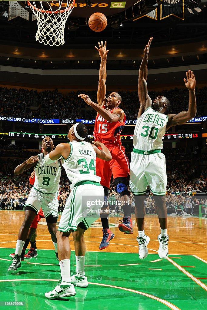 Al Horford #15 of the Atlanta Hawks shoots the ball against the Boston Celtics on March 8, 2013 at the TD Garden in Boston, Massachusetts.