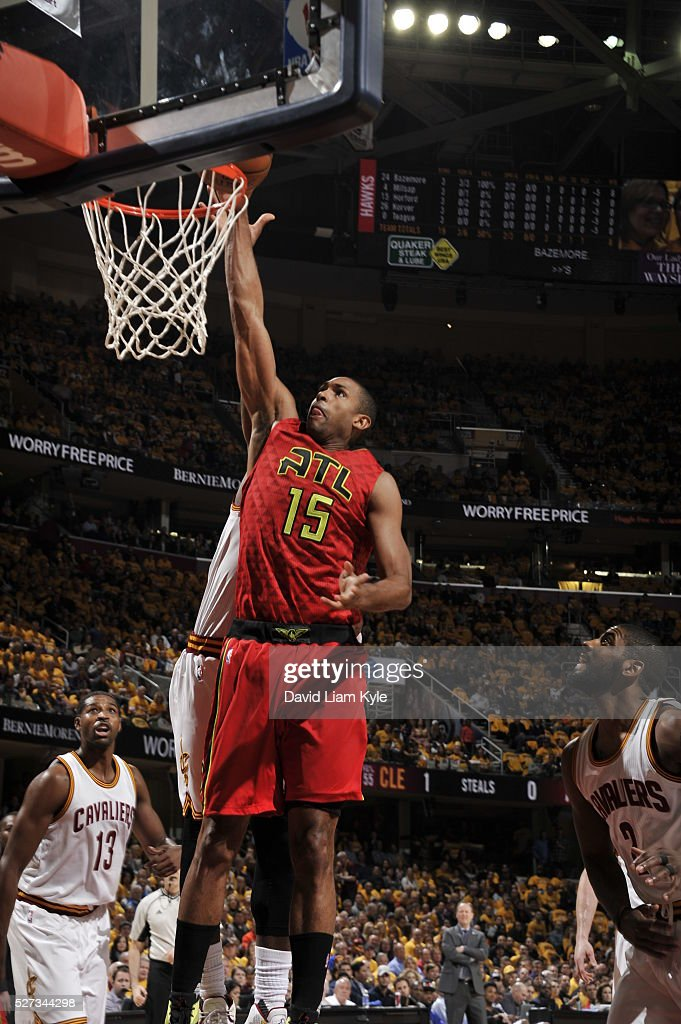 Al Horford #15 of the Atlanta Hawks shoots the ball against the Cleveland Cavaliers in Game One of the Eastern Conference Semifinals of the 2016 NBA Playoffs on May 2, 2016 at The Quicken Loans Arena in Cleveland, Ohio.