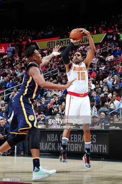 Al Horford of the Atlanta Hawks shoots the ball against the Indiana Pacers on February 5 2016 at Philips Arena in Atlanta Georgia NOTE TO USER User...