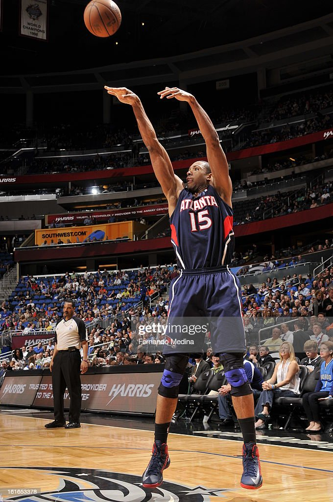 Al Horford #15 of the Atlanta Hawks shoots the ball against the Orlando Magic during the game on February 13, 2013 at Amway Center in Orlando, Florida.