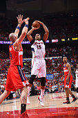 Al Horford of the Atlanta Hawks shoots the ball against the Washington Wizards in Game five of the Eastern Conference Semifinals of the NBA Playoffs...
