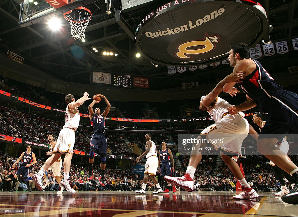 Al Horford #15 of the Atlanta Hawks shoots the jumper against Tyler Zeller #40 of the Cleveland Cavaliers at The Quicken Loans Arena on January 9, 2013 in Cleveland, Ohio.
