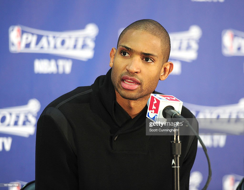 Al Horford #15 of the Atlanta Hawks speaks during the press conference after winning the Game Three of the Eastern Conference Quarterfinals between the Indiana Pacers and the Atlanta Hawks in the 2013 NBA Playoffs on April 27, 2013 at Philips Arena in Atlanta, Georgia.