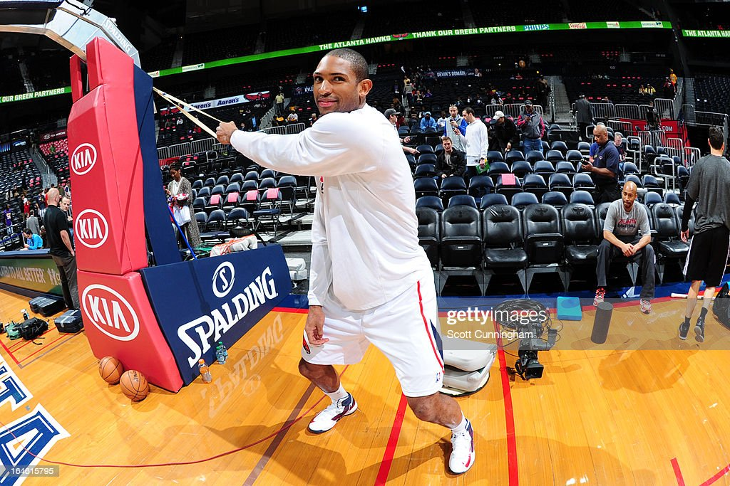Al Horford #15 of the Atlanta Hawks stretches before the game against the Los Angeles Lakers on March 13, 2013 at Philips Arena in Atlanta, Georgia.