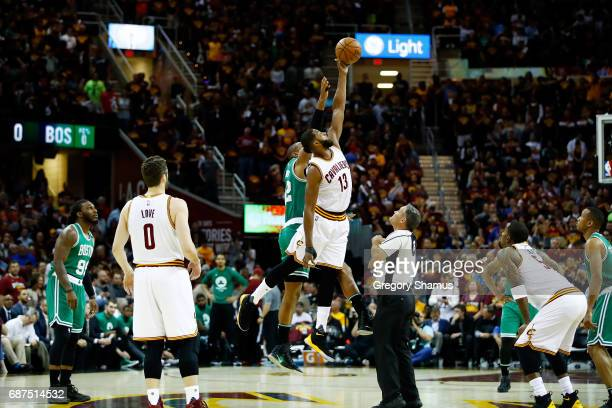 Al Horford of the Boston Celtics and Tristan Thompson of the Cleveland Cavaliers tip off to start Game Four of the 2017 NBA Eastern Conference Finals...