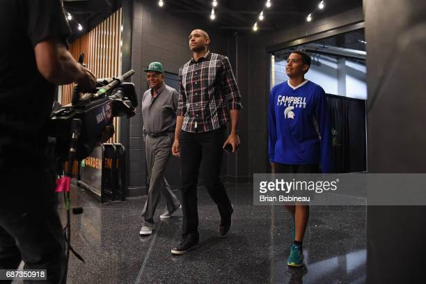 Al Horford of the Boston Celtics arrives at the arena before Game Two of the Eastern Conference Finals against the Cleveland Cavaliers during the...