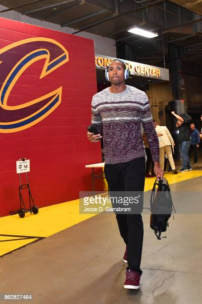 Al Horford of the Boston Celtics arrives at the arena before the game against Cleveland Cavaliers on October 17 2017 at Quicken Loans Arena in...