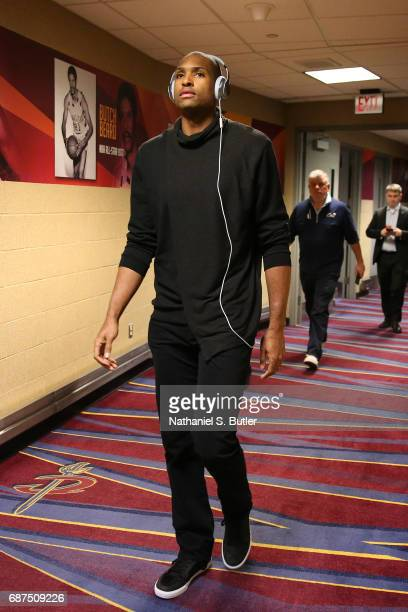 Al Horford of the Boston Celtics arrives before the game against the Cleveland Cavaliers in Game Four of the Eastern Conference Finals during the...