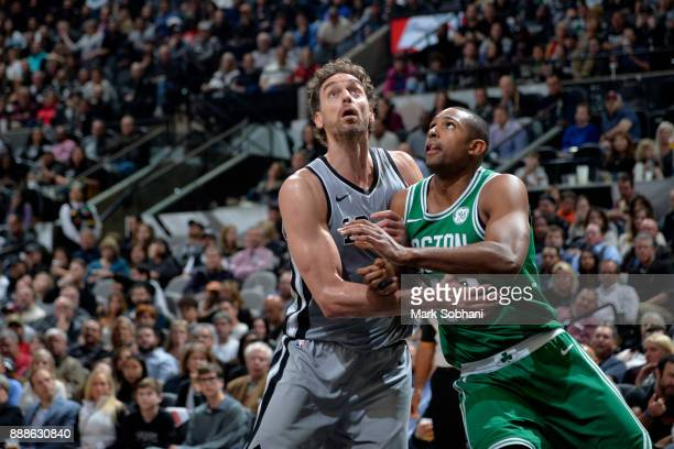 Al Horford of the Boston Celtics boxes out Pau Gasol of the San Antonio Spurs on December 8 2017 at the ATT Center in San Antonio Texas NOTE TO USER...