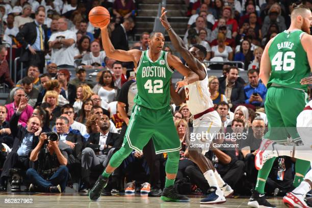 Al Horford of the Boston Celtics catches a pass against the Cleveland Cavaliers on October 17 2017 at Quicken Loans Arena in Cleveland Ohio NOTE TO...
