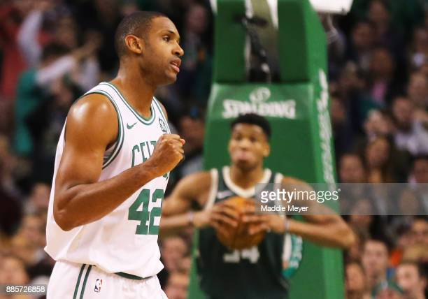 Al Horford of the Boston Celtics celebrates during the second quarter against the Milwaukee Bucks at TD Garden on December 4 2017 in Boston...