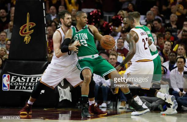 Al Horford of the Boston Celtics drives against Kevin Love of the Cleveland Cavaliers in the second half during Game Four of the 2017 NBA Eastern...