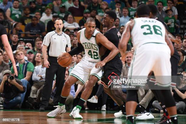 Al Horford of the Boston Celtics drives to the basket against the Chicago Bulls during the Eastern Conference Quarterfinals of the 2017 NBA Playoffs...