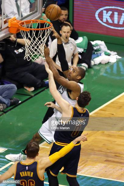 Al Horford of the Boston Celtics drives to the basket against the Cleveland Cavaliers during Game Five of the Eastern Conference Finals of the 2017...