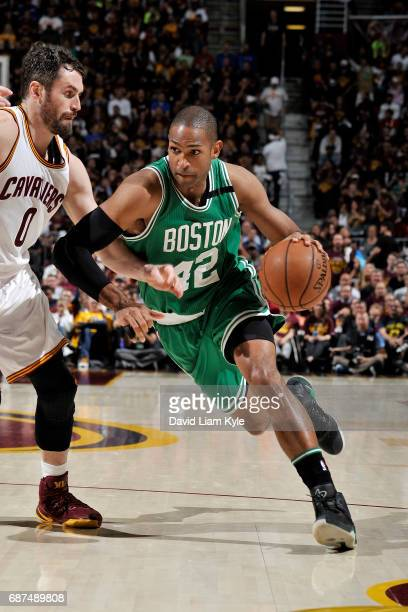 Al Horford of the Boston Celtics drives to the basket during the game against the Cleveland Cavaliers in Game Four of the Eastern Conference Finals...