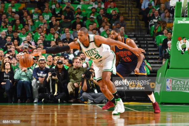Al Horford of the Boston Celtics goes for a loose ball during the game against the Cleveland Cavaliers during Game Five of the Eastern Conference...