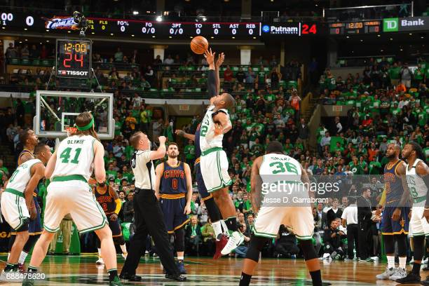 Al Horford of the Boston Celtics goes for the tip off against the Cleveland Cavaliers during Game Five of the Eastern Conference Finals of the 2017...