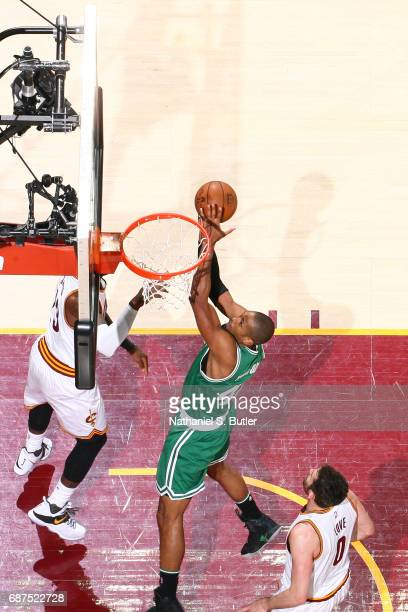 Al Horford of the Boston Celtics goes to the basket against the Cleveland Cavaliers in Game Four of the Eastern Conference Finals during the 2017 NBA...