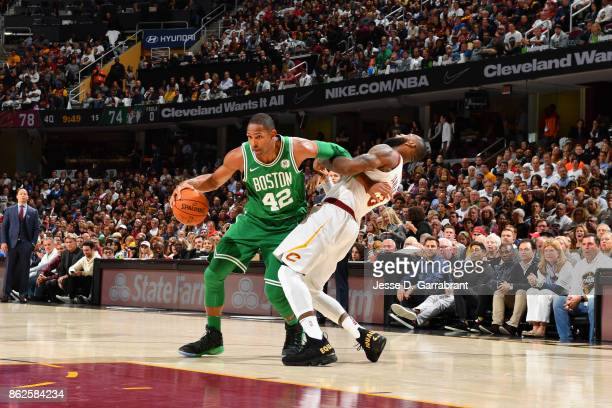 Al Horford of the Boston Celtics goes to the basket against the Cleveland Cavaliers on October 17 2017 at Quicken Loans Arena in Cleveland Ohio NOTE...