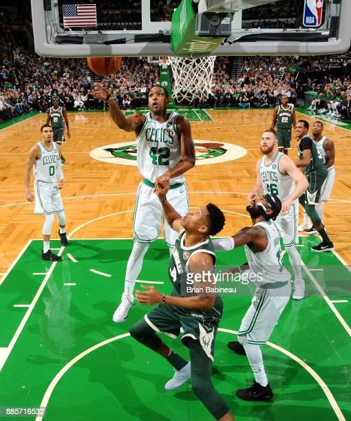 Al Horford of the Boston Celtics goes to the basket against the Milwaukee Bucks on December 4 2017 at the TD Garden in Boston Massachusetts NOTE TO...